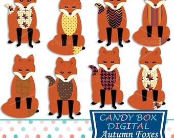 Fox Clipart, Forest Animal Clip Art, Woodland Clipart, Fall Clip Art - Commercial Use OK