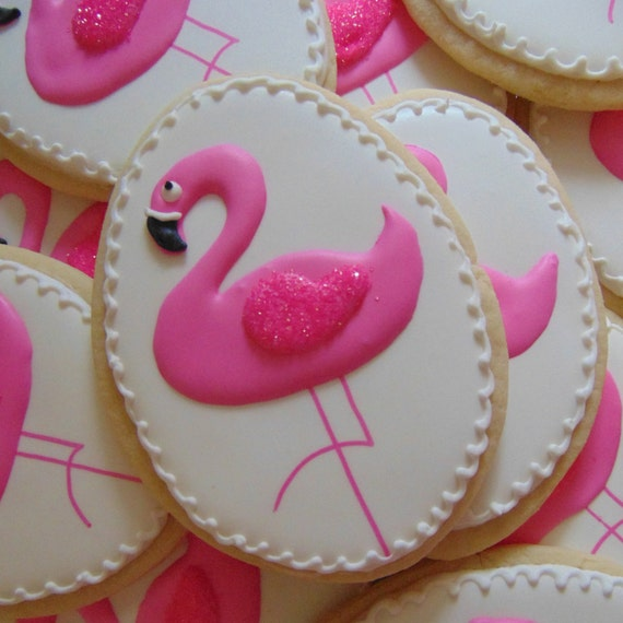 Pink flamingo cookies