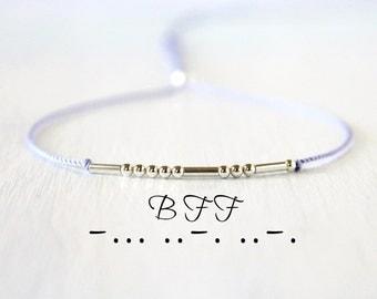 BFF Morse Code Bracelet Minimalist Dainty Sterling Silver Silk Cord Friendship Bracelet Boho Chic Best Friends Jewelry