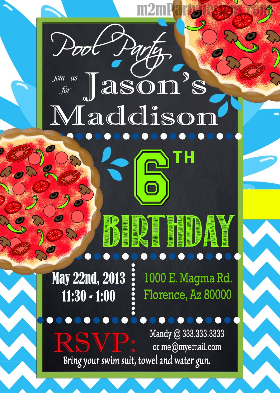 Pool Party Invitation Custom Pizza And Pool Party Water