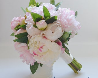 Blush Peony Bouquet with Cream and Blush Open Peonies Peony Buds and Greenery