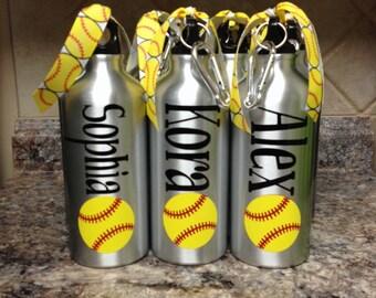 Personalized Aluminum Water Bottle-Baseball or Softball