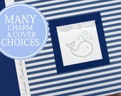 Personalized Whale Baby Book | Nautical Baby Memory Book | Boy Baby Album Photo Book & Journal | Blue Stripes
