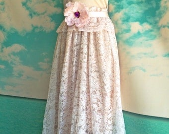 antique pink & whisper pink lace organza ruffled boho wedding dress by mermaid miss k