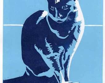 Blue cat linoprint limited edition unframed original print reduction linocut relief print