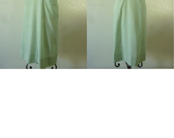 1940's-50's Green Striped day/Summer dress. large size -Bust