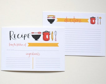DIGITAL FILE - Hand Lettered and Illustrated Recipe Cards - 4x6 Recipe Cards - Recipe Cards - Kitchen - Recipes