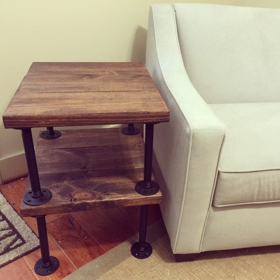 Items similar to rustic wood and pipe end table on etsy for Rustic pipe table