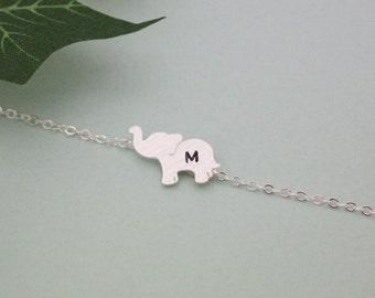 PERSONALIZED ELEPHANT BRACELET, initial elephant bracelet,birthday gift , bridesmaid gift idea, Elephant Jewelry, Animal Jewelry, friendship