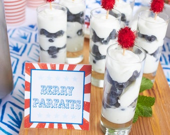 Vintage Patriotic Party Food Labels | Fourth of July | Labor Day | Red White & Blue | LuluCole
