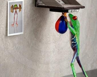 Boxing art, Frog Hitting Punching Bag, Fighting Frog, Sports Art