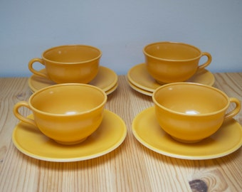 Vintage teacups Hazel-Atlas Ovide orange