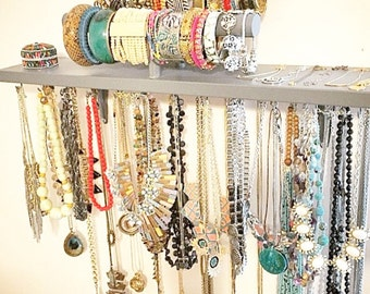 Jewelry Organizer - Bracelet and Necklace Holder Combination Jewelry Shelf - You pick color, over 30 choices available!