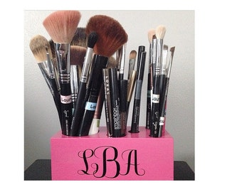 Monogram Makeup Brush Organizer - 6 Hole Petite Size - 30+ Colors Available