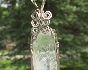 Natural Quartz Crystal  Pendant wire wrapped in silverfilled wire