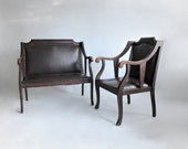Regency Leather Chair and Settee. Mahogany Frame. Original Leather. Turn of the Century