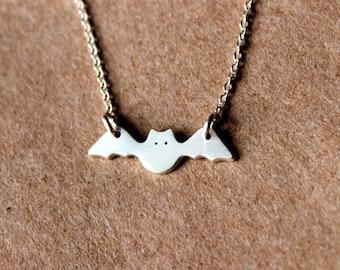 Silver Bat Necklace - Sterling Silver necklace - Bat Jewelry - Silver Bat - Halloween