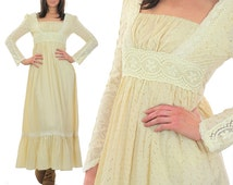 Vintage 70s Gunne Sax dress Boho maxi dress Boho bridal dress Hippie dress Hippie wedding dress Lace wedding dress party maxi dress XS