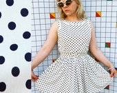 PLEATED POLKA Dots White and Blue Fit and Flare Pleated Belted 60s Mini Dress