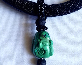 """Necklace """"STINGRAY"""" black pendant BUDDHA"""