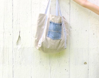 Market Tote - Glitter bag - Linen Shopping Bag - Upcycled purse - Large Tote - Gift for women - Gift for friend, wife, sister repurposed bag