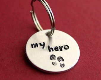 My Hero Keychain, My Hero Wears Combat Boots, Dirty Work Boots, Military Gift, Deployment Husband or Dad Gift, Key chain for him Handstamped