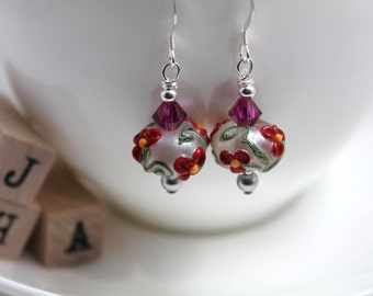Lampwork glass bead/Swarovski/Sterling silver - Crimson flower earrings