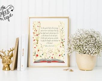 INSTANT DOWNLOAD, Hebrews 4:12, Word of God is Living and Active, Floral, Wildflowers, Scripture Art, Printable, No. 561