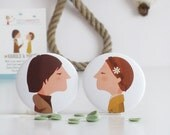 Harold and Maude. Round pin badges (Round pin buttons). Accessory. Gift. Illustration based on Hal Ashby's film. Tutticonfetti.