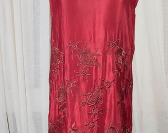 1920s embroidered red silk flapper dress w/ fringe, Gatsby, 1920s, Roaring 20s, art deco