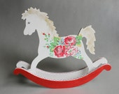 White rocking horse figurine with red roses - Gift for baby girl - Keepsake hand painted wooden toy - baby shower centerpiece nursery decor