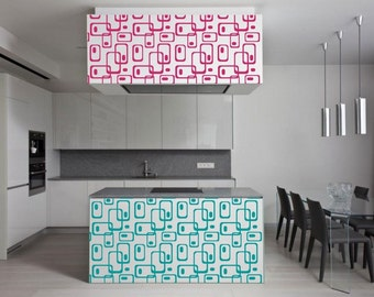 Wall art - Retro Rectangles Pattern vinyl wall decal / sticker ideal for nursery or kids room or your living room retro decor