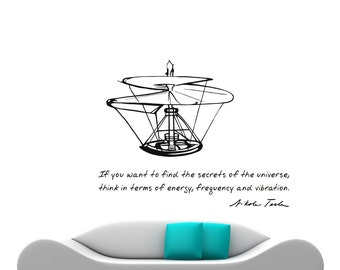 Science Art Physics - Tesla quote and Da Vinci flying machine sketch vinyl wall decal for scientific décor engineering gift (ID: 121068)