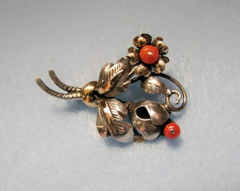 ART NOUVEAU Sterling Silver/10k Gold Brooch with CORAL Flowers