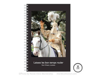 Mardi Gras Captain Spiral Journal Lined - New Orleans Spiral Notebook - Mardi Gras Day - REX Captain on Horse - theRDBcollection