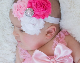 Girls Headbands, Hot Pink, Pink, White Shabby Chic Headband, Baby Headband, Toddler Headband, Newborn Headband, Infant Headband, Head Band