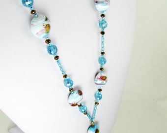 Lovely Foil Beaded Lanyard blue brown Flashy Sparkly ID Holder