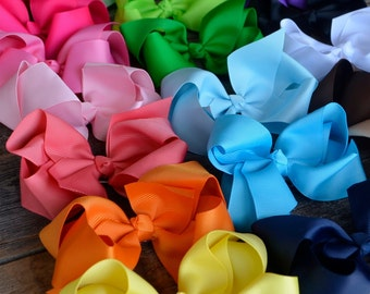 "4.5"" Twisted Boutique Grosgrain Bow - Hair Ribbon Bows - Basic Bow - Baby Girls Hair Accessories - Alligator Clips"