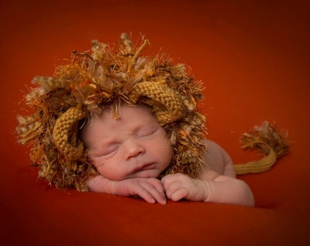 Newborn Lion Bonnet and Tail Photo Prop, MADE TO ORDER