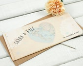 Vintage Map Stitched Booklet Wedding Invitation