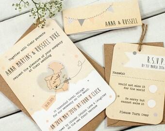 Bunting Map Wedding Invitation Bundle - Destination Wedding - Peach Dove Grey Plane