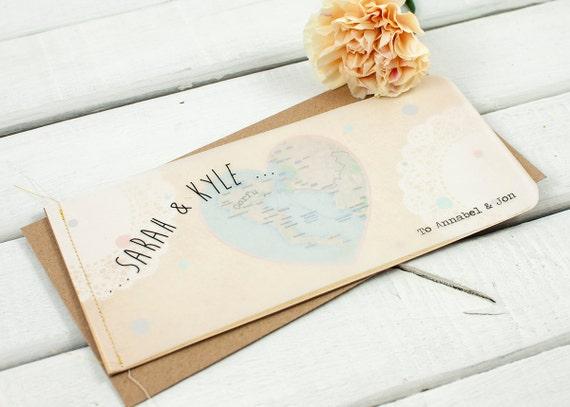 Vintage Map Stitched Booklet Wedding Invitation