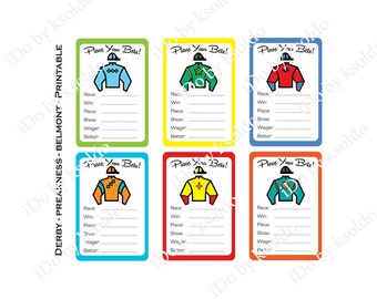 Kentucky Derby - Preakness - Belmont Stakes - Jockey Silk - Betting Game  - Betting Cards - Betting - Game - Printable - Instant Download