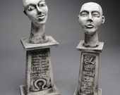 Clay Sculpture Handmade Two Figures Alpha and Omega Set