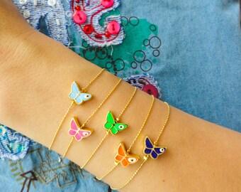 Butterfly bracelet, evil eye bracelet, neon evil eye jewelry, butterfely theme birthday goodie bag gift idea for girls bachelor party
