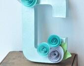 Paper Flower Letters, Paper flower decor, letter decor, hanging letter