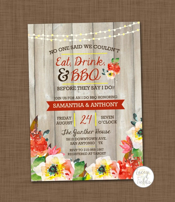 ... Drink U0026 BBQ Wedding Invitation