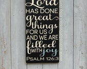 Psalm 126 3 The LORD has done GREAT things Family Christian Typography Scripture Art Wooden Sign Painting Gallery Wall
