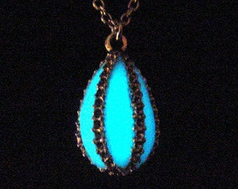 Caged Glow In The Dark Necklace Pendant Antique Silver (glows aqua blue)
