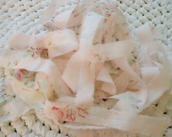 Rachel Ashwell Fabric Ribbon, 6 yds Ribbon, Hand Torn Fabric Ribbon, Handmade Ribbon, Shabby Chic Roses Ribbon, Gift wrap, Bows, Garlands